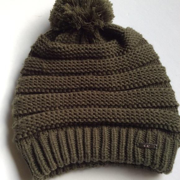 ec5155806117ee C.C Accessories | C C Olive Green Beanie Hat Pom Pom | Poshmark